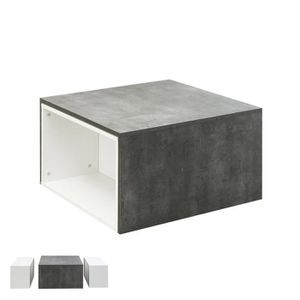 TABLE BASSE Table basse modulable effet béton - blanche