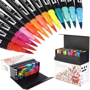 Feutre Coloriage Adulte pour Peinture Magicfly Stylos Feutres Aquarelle,48 Couleurs Stylos Pinceaux /à Double Pointe Feutre Bullet Journal Calligraphie,Coloriage