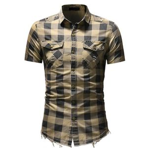 9aaaf395cda9 CHEMISE - CHEMISETTE Slim Fit bouton d homme Plaid Chemise à manches co ...