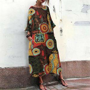 ROBE Femmes Retro Lin Coton Casual Imprimer loose poche