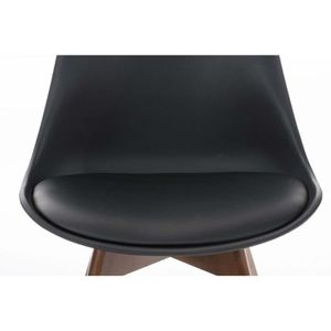 CHAISE Chaise visiteur en similicuir-plastique-bois noir
