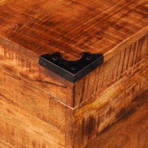 COFFRE - MALLE Ce coffre de stockage en bois brut de manguier, un