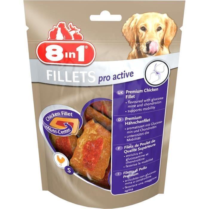 8in1 Filets de poulet séchés Pro Active enrichis en chondroïtine et de la glucosamine - Taille S - Pour chien - Carton de 8 sachets