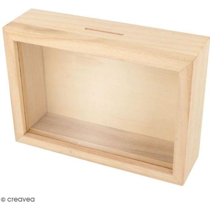 Tirelire cagnotte voyage en bois à décorer - 17 x 12 x 5 cm