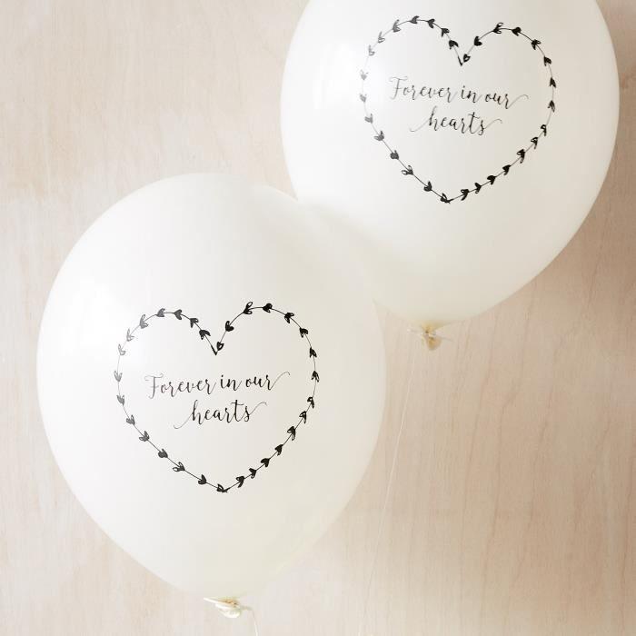 10 Blanc 'à jamais dans nos coeurs Funérailles Souvenir condoléance Ballons - Par 2HLNZD