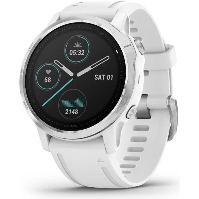Garmin fenix 6S - Montre GPS multisports haut de gamme - Silver avec bracelet blanc