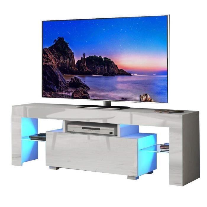 Meuble TV 130 cm avec lumières LED Bleues pour téléviseurs jusqu'à 55- (130 x 35 x 45 cm Blanc)