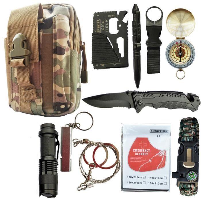 ILF® Kit de Survie d'Urgence 11 en 1 Multi-Outils Couteau de Survie Lampe de Poche Boussole Paracorde pour Randonnée - Camouflage