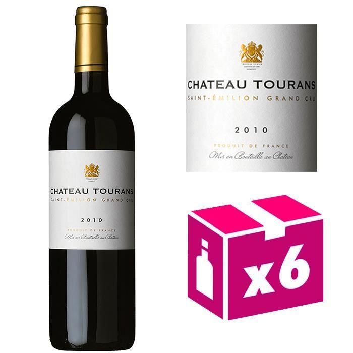 6 bouteilles Château Tourans - St Emilion Grand Cru 2010