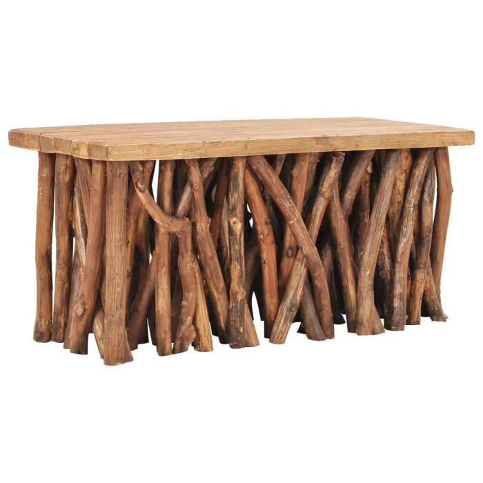 Table basse en Bois de récupération solide et teck - 100 x 40 x 47,5 cm (L x l x H) - Style industriel