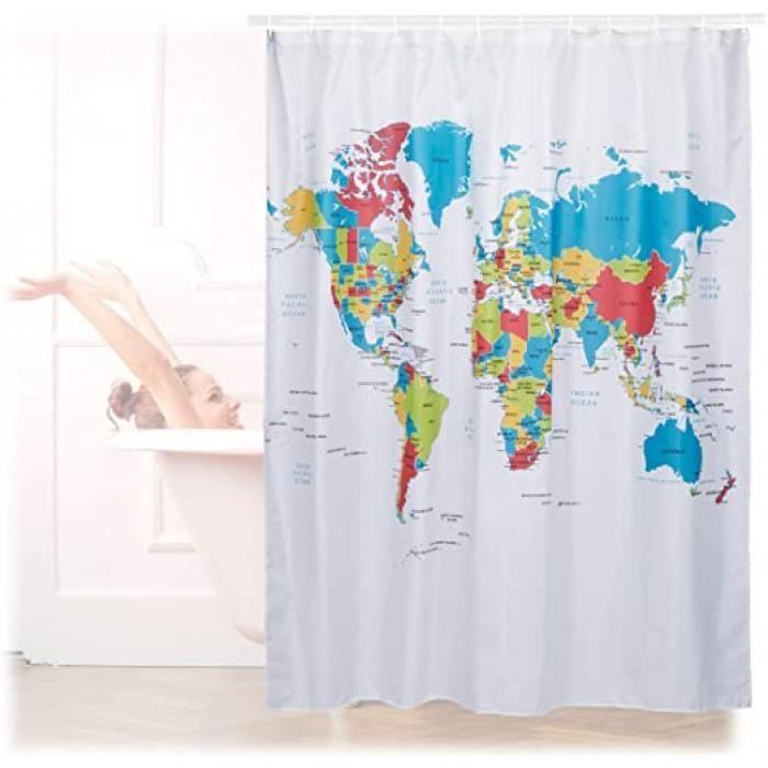 rideau de douche 180 x 180 cm salle de bain motifs carte du monde anti-moisissures, coloré