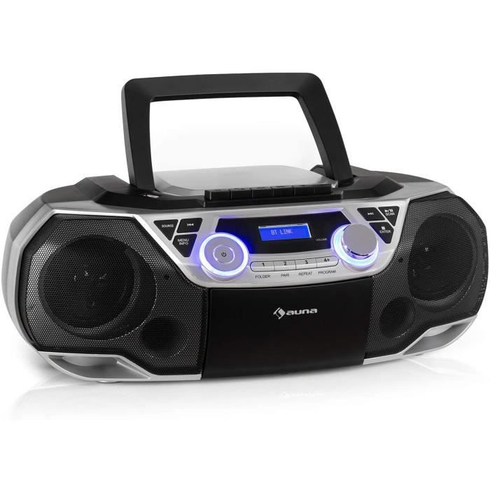AUNA Roadie 2K - Boombox Compact, Lecteur CD, Radio et Cassette, Secteur ou sur Piles, Port USB, Streaming sans Fil par Bluetooth 5.