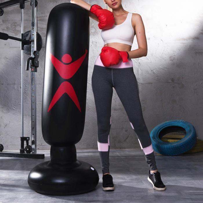 Sac de Boxe Gonflable Sac De Frappe Sur Pied Punching Ball Pour Adulte Enfant Fitness -QNQ