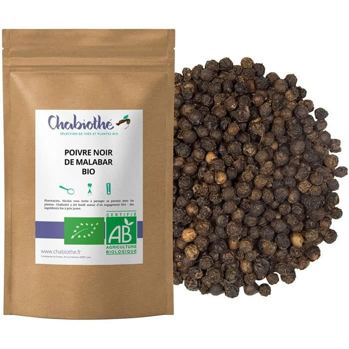 CHABIOTHE Poivre noir de Malabar Inde Bio 200g