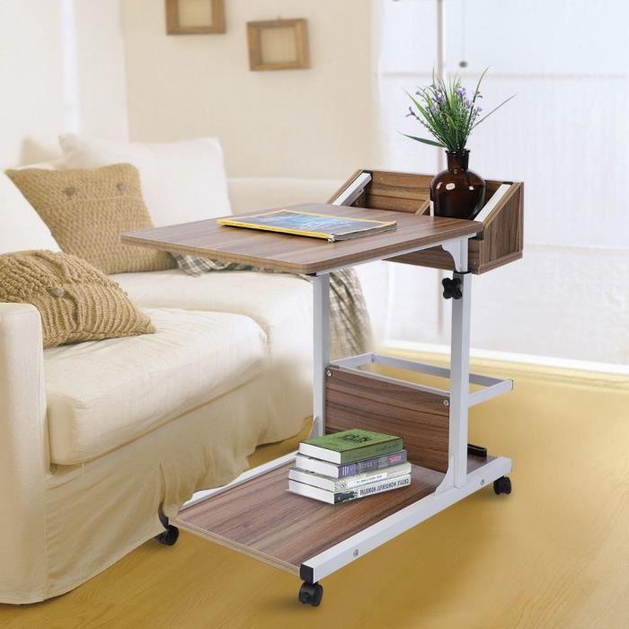 Table de Lit Ordinateur - Hauteur Réglable - Roulette - Table d'appoint