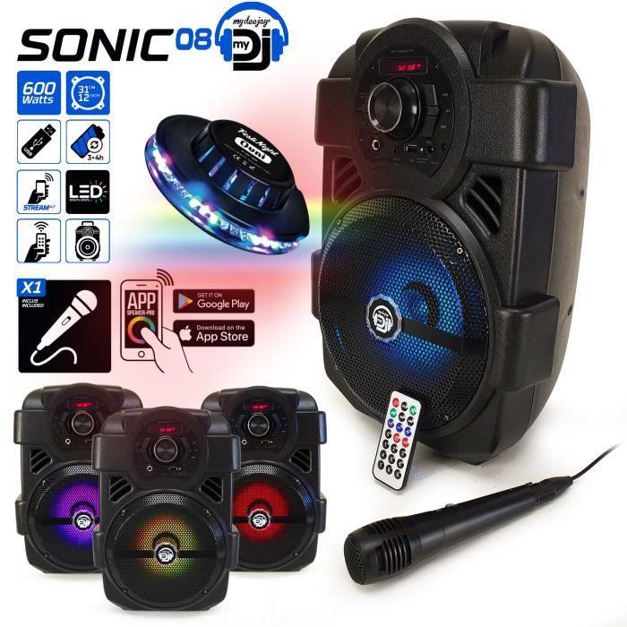 Enceinte Karaoké PARTY 400W Batterie MyDj SONIC08 à LED + APPLICATION SMARTPHONE - USB/Bluetooth/RADIO FM Micro + Lumière