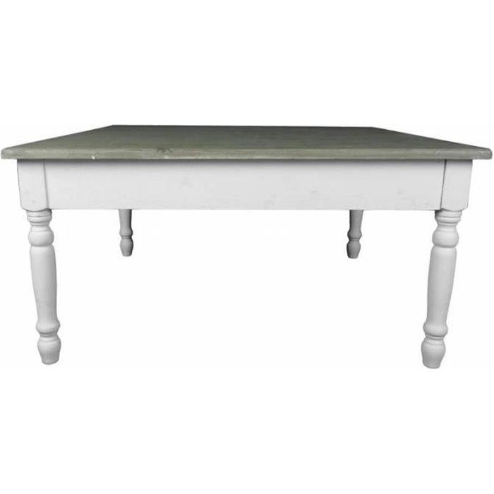 Grande Table Basse Console de Salon Bout de Canapé Desserte d'Appoint Forme Carrée en Bois Patiné Blanc et Marron 45x90x90cm Blanc