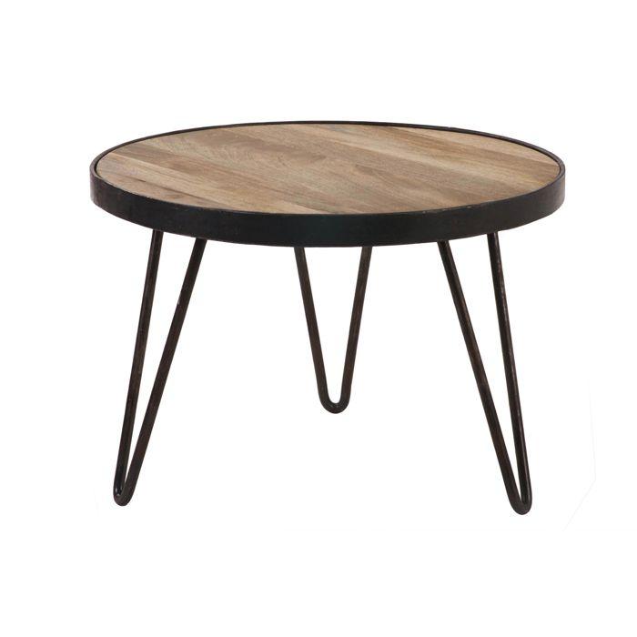 Miliboo - Table basse ronde design industriel 50x35 cm ATELIER