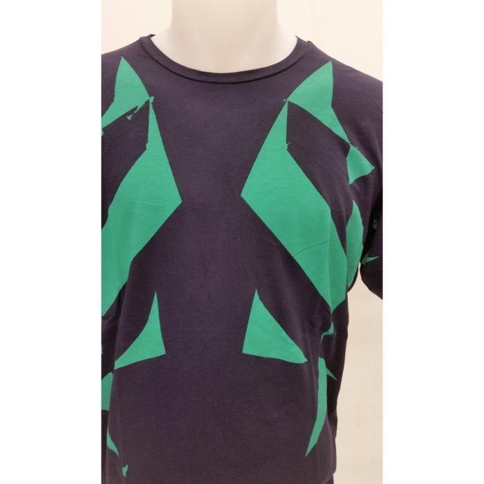 Tee-Shirt DIESEL manches courtes pour hommes bleu marine sérigraphies vertes.