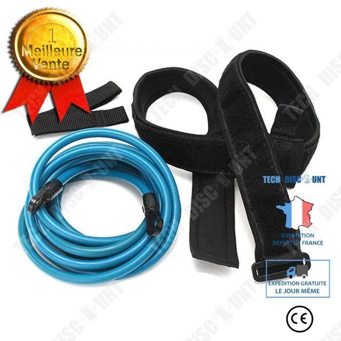 TD® Corde élastique de natation ceinture de natation fixe ceinture d'entraînement de natation statique - 6x10x400mm - BLEU