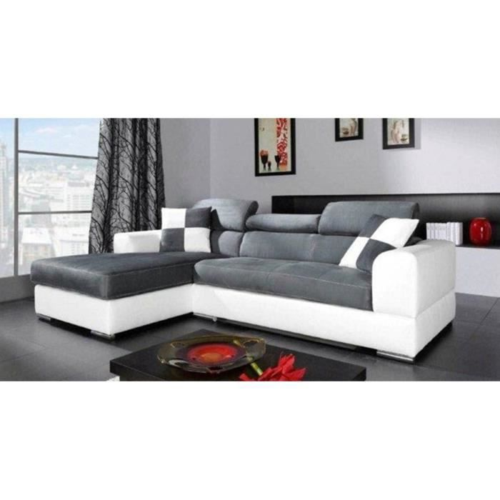 canap d 39 angle gris et blanc palma achat vente canap sofa divan cdiscount. Black Bedroom Furniture Sets. Home Design Ideas