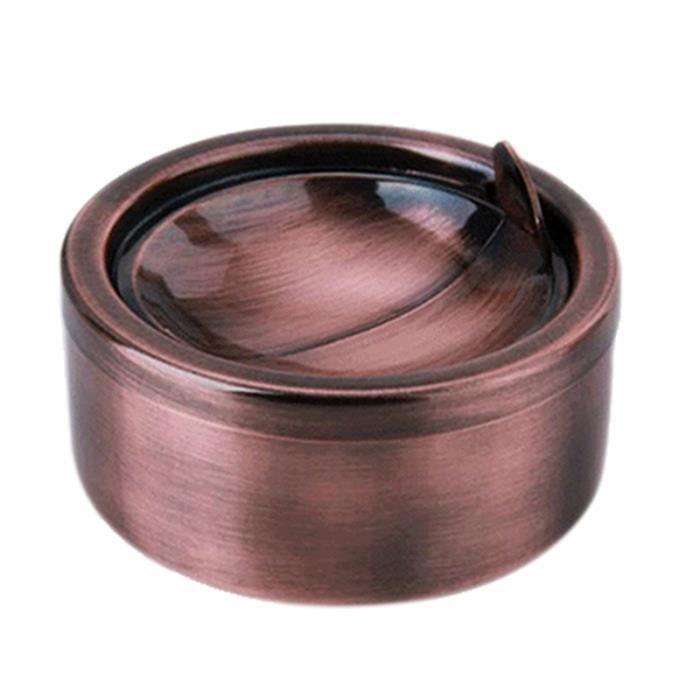 Cendrier en acier inoxydable coupe-vent avec couvercle