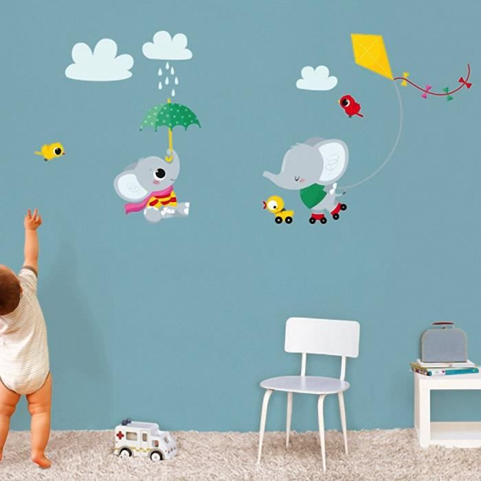 Stickers stickers muraux decoration chambre bebe elephant