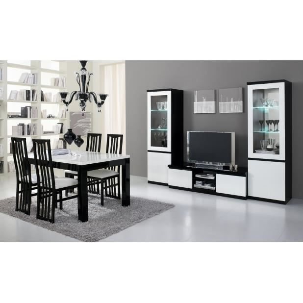 Ensemble 3 l ments laque noir blanc table 160 2 vitrine for Ensemble meuble salle a manger