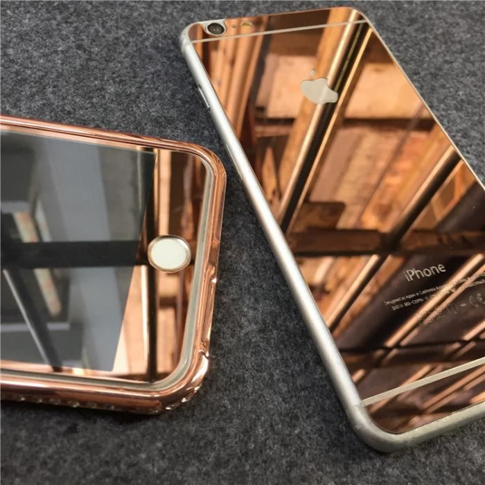 or rose miroir front dos film de protection vitre verre trempe transparent pour iphone 6 6s. Black Bedroom Furniture Sets. Home Design Ideas