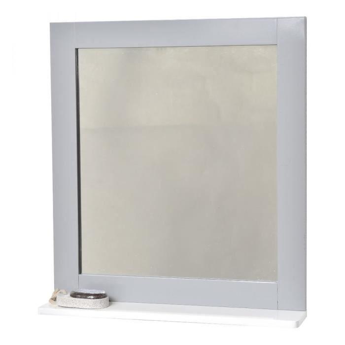 Miroir salle de bain blanc avec tablette