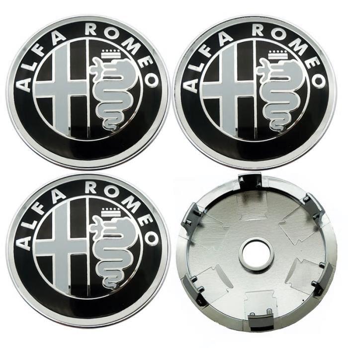 okokk90909o 4X 60mm Or Noir 6cm Alfa Romeo Capuchon de Centre de Roue Cache-moyeu