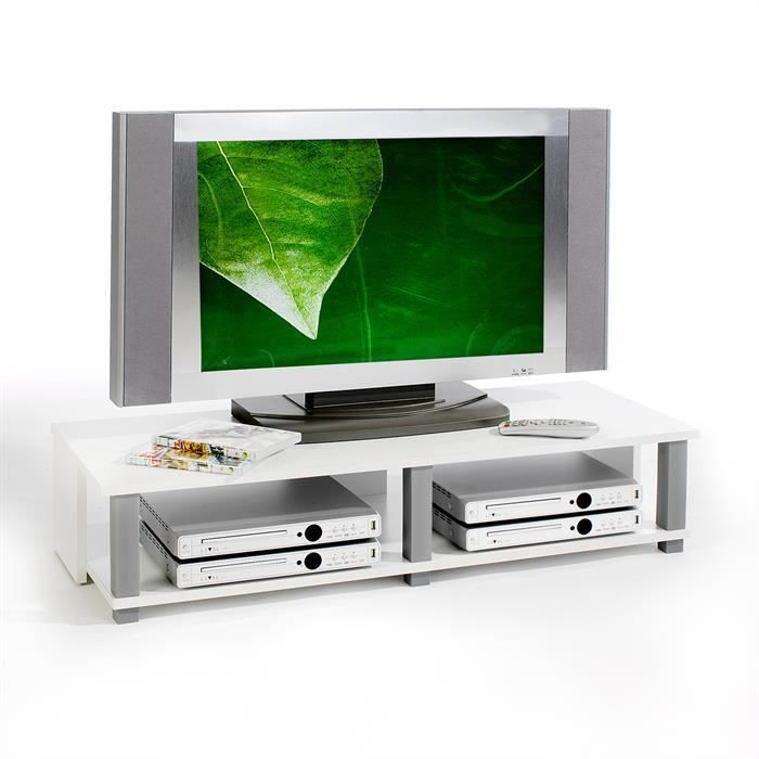 Meuble tv bas gero 2 niches blanc achat vente meuble for Meuble bas tv blanc