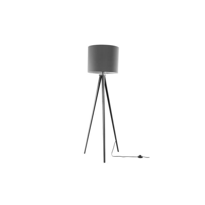 miliboo lampadaire design abat jour gris clai achat vente gioa lampadaire pied metal. Black Bedroom Furniture Sets. Home Design Ideas