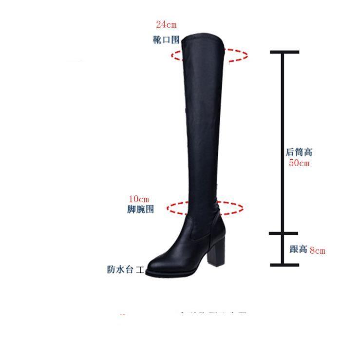 BOTTE Bottes en cuir à la mode au genou Femmes Toe Botte
