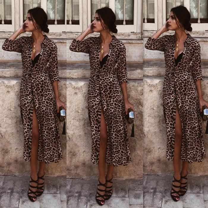 ROBE Femme Robe longue imprimée léopard pour femme Maxi