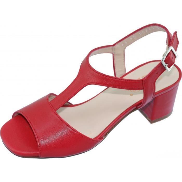Souple Marque Lisse Sandales Tailles Cuir Talon Confort Bella Chaussures Astoria Pointures b Rouge Femme Stable Petites wOlkuPiXZT