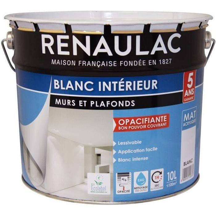 Renaulac Peinture Intérieur Murs Et Plafonds Bicouche Acrylique 10 L 100m Blanc Mat Lessivable