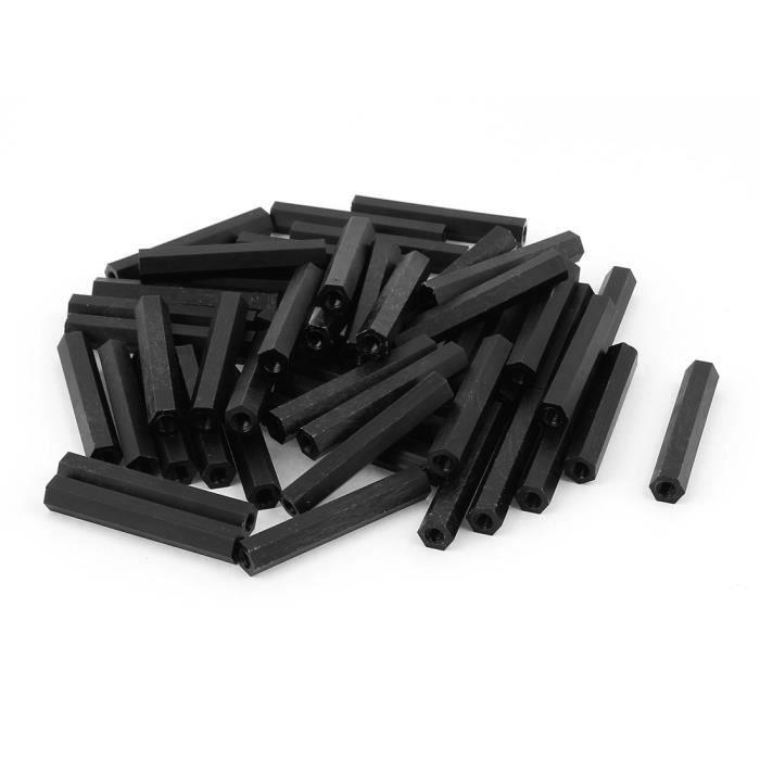 Lot de 12 entretoises en nylon noir M6 x 15 mm.