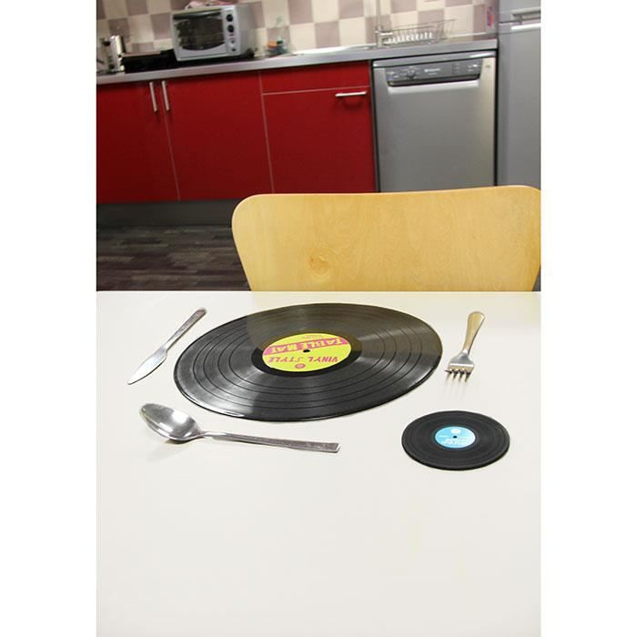 Set de table disque vinyle cadeau d co design achat for Sets de table rigides