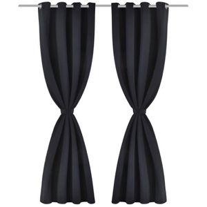 RIDEAU Magnifique 2 pcs Rideau Occultant Noir avec Œillet