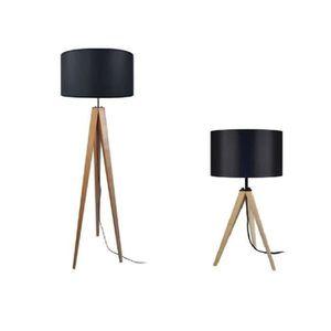 LAMPADAIRE IDUN Lampadaire + Lampe en bois naturel - Ø50 x H.