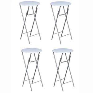 MANGE-DEBOUT 4pcs Tables de bar ronde haute pliable Blanche ave