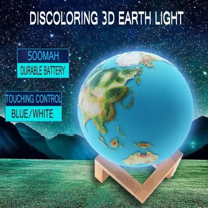 15CM Lampe Globe Terrestre 3D Écran tactile Avec Pied de Lampe Bleu-Blanc OK1559