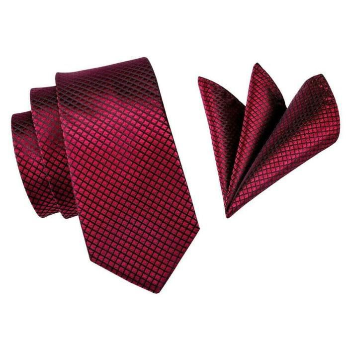 Cravate Rouge Bordeaux + Mouchoir,100%Soie Jacquard