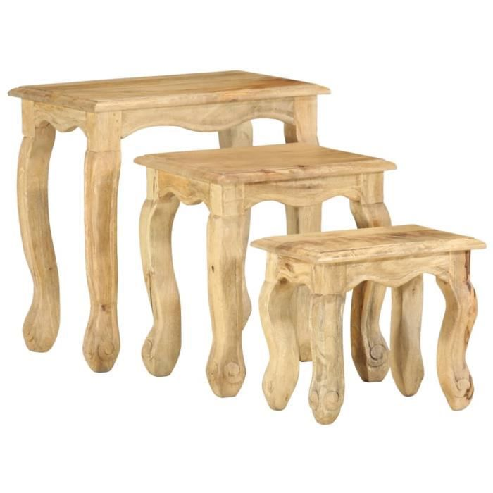 Wei Ensemble de tables gigognes 3 pcs Bois massif de manguier # 0