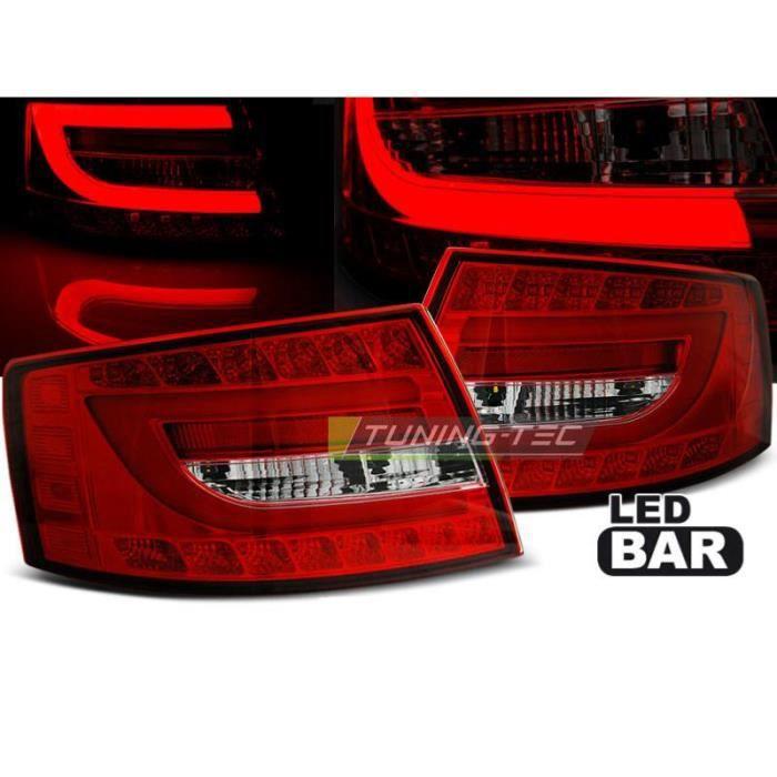 Paire de feux arriere Audi A6 C6 berline 04-08 LED BAR rouge blanc-27335619