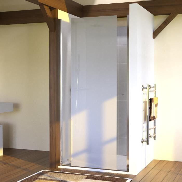 CREAZUR Porte de Douche pivotante Sandy 100 X 190 en verre sablé 6 mm