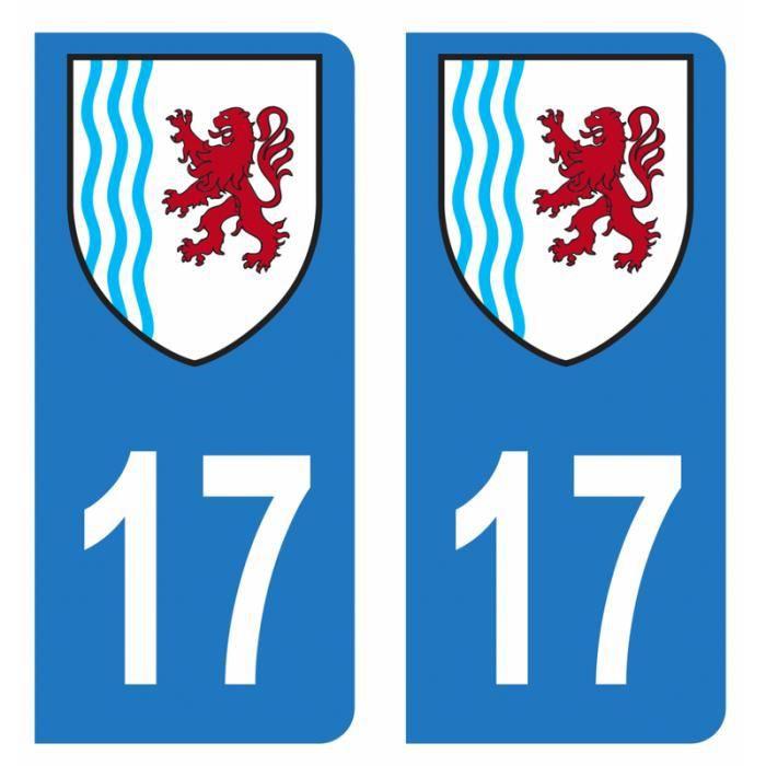 Lot 2 Autocollants Stickers plaque immatriculation voiture auto département 17 Charente-maritime Logo Nouvelle-Aquitaine