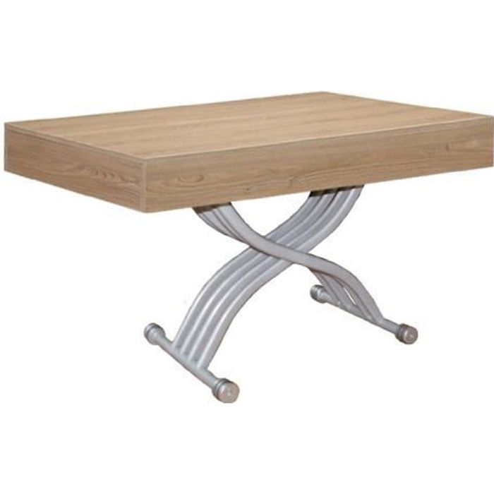 Table basse relevable Kubic Chêne clair