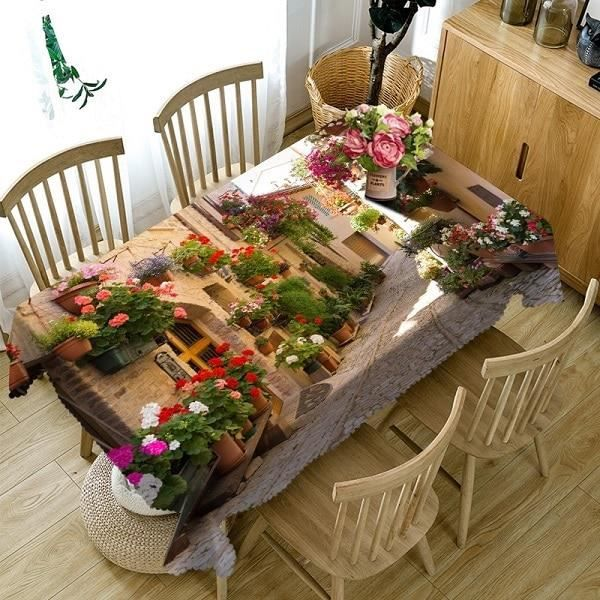 Europe Alley 90x90 cm -Nappe de Table violette pour mariage, 1 pièces, décoration 3D pour maison, Bouquet, arbre de noël, fête d'
